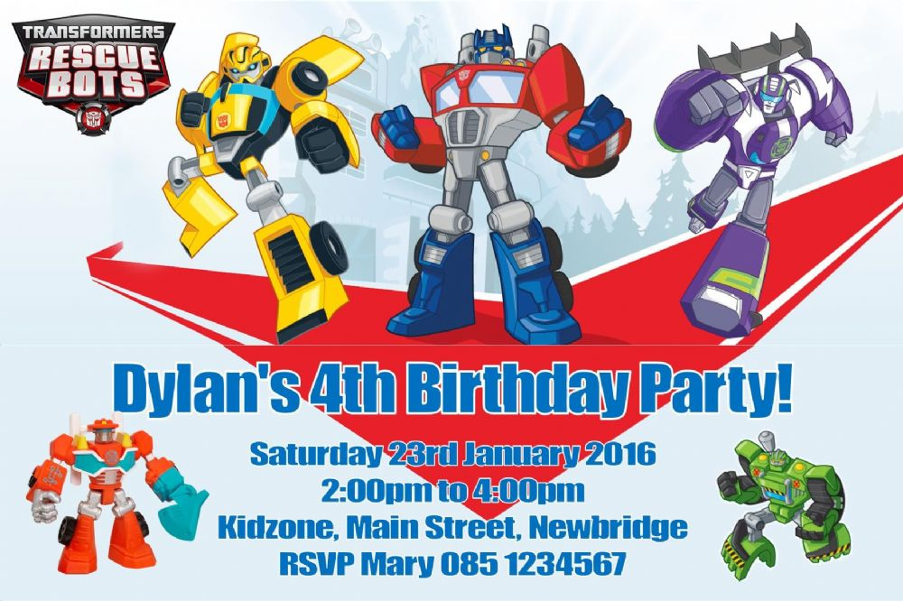 Personalised Transformers Rescue Bots Invitations